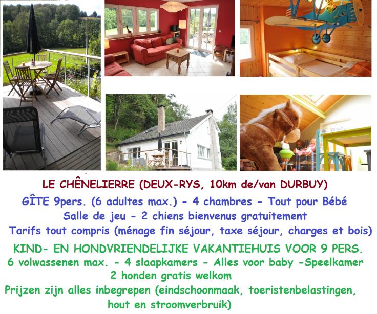 Le Chênelierre, kind- en hondvriend. vakantiehuis bij Durbuy ...